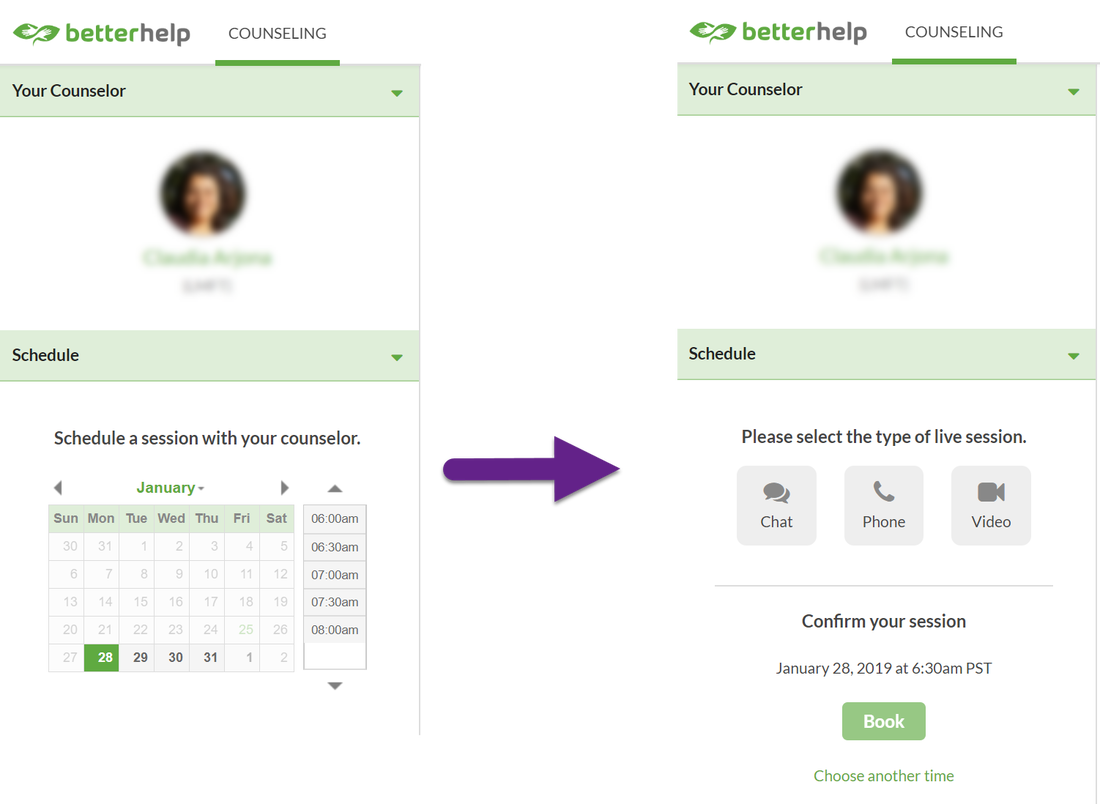 Scheduling BetterHelp Session